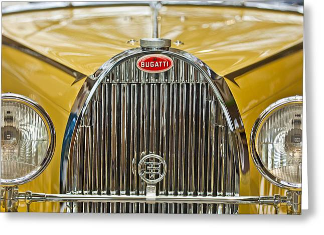 Pebble Beach Car Show Greeting Cards - 1935 Bugatti Type 57 Roadster Grille Greeting Card by Jill Reger