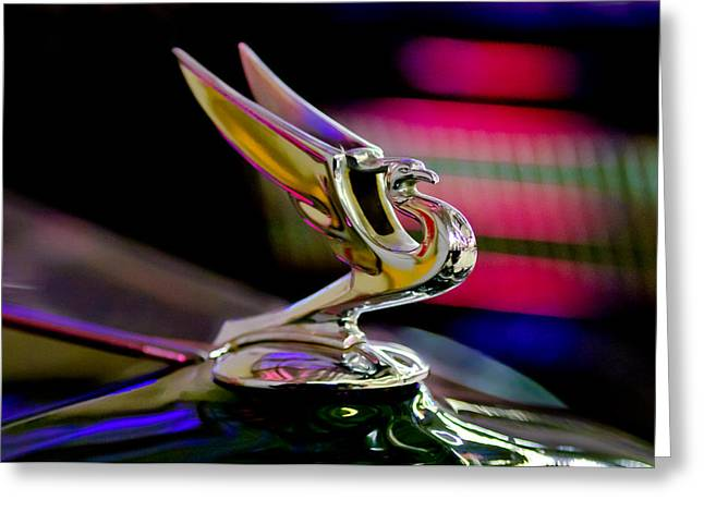 Collector Hood Ornament Greeting Cards - 1935 Chevrolet Hood Ornament 2 Greeting Card by Jill Reger