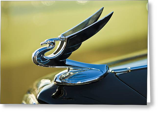 Vintage Hood Ornaments Greeting Cards - 1935 Chevrolet Sedan Hood Ornament 2 Greeting Card by Jill Reger