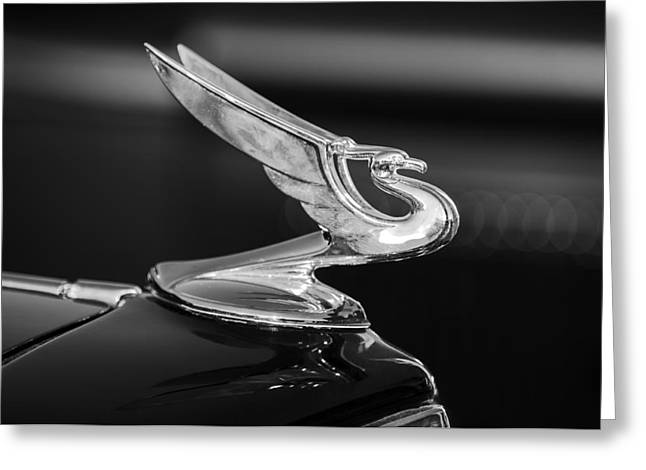 Mascot Photographs Greeting Cards - 1935 Chevrolet Sedan Hood Ornament -479BW Greeting Card by Jill Reger