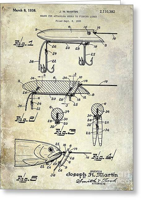Fishing House Greeting Cards - 1935 Fishing Lure Patent Greeting Card by Jon Neidert