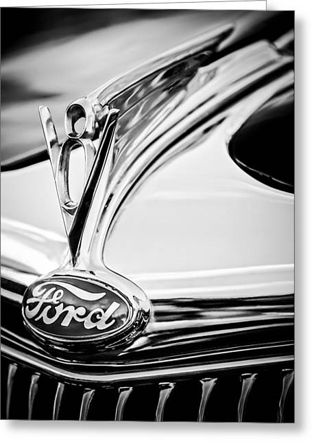 Restos Greeting Cards - 1935 Ford Cabriolet Resto-Mod Hood Ornament - Emblem -0842bw Greeting Card by Jill Reger