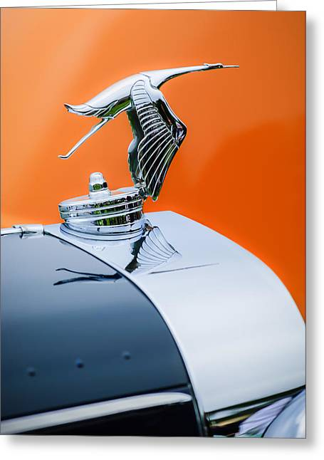 Suiza Greeting Cards - 1935 Hispano-Suiza J12 Vanvooren Cabriolet Hood Ornament -2425C Greeting Card by Jill Reger