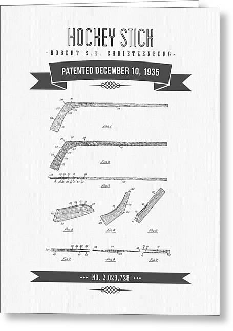 Hockey Player Greeting Cards - 1935 Hockey Stick Patent Drawing - Retro Gray Greeting Card by Aged Pixel