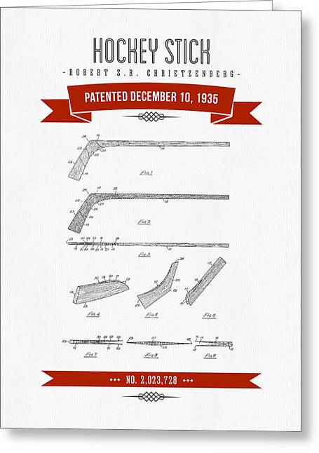 Hockey Player Greeting Cards - 1935 Hockey Stick Patent Drawing - Retro Red Greeting Card by Aged Pixel