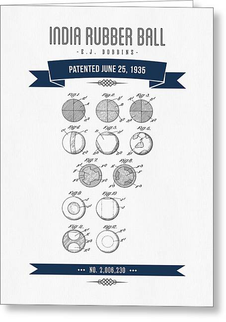 League Greeting Cards - 1935 India Rubber Ball Patent Drawing - Retro Navy Blue Greeting Card by Aged Pixel