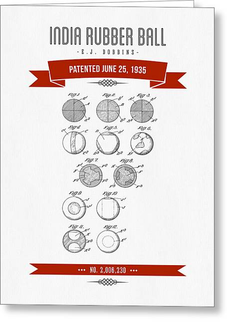 League Greeting Cards - 1935 India Rubber Ball Patent Drawing - Retro Red Greeting Card by Aged Pixel