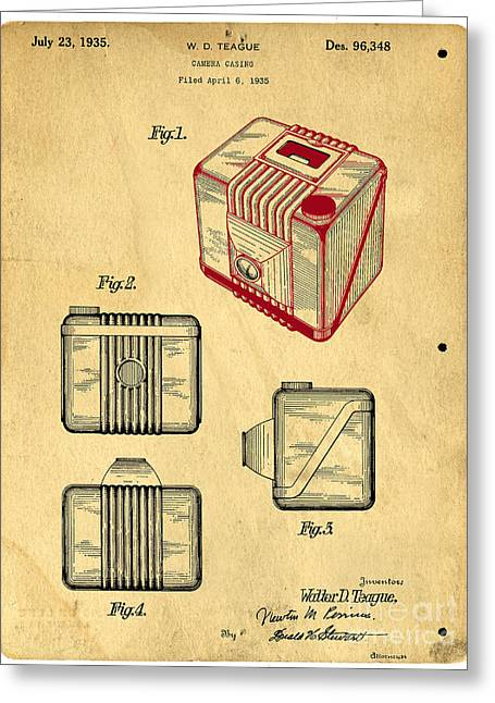 Invention Greeting Cards - 1935 Kodak Camera Casing Patent Greeting Card by Edward Fielding
