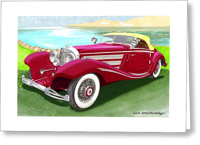 Beach Prints Drawings Greeting Cards - 1935 Mercedes Benz 540 K Pebble Beach Greeting Card by Jack Pumphrey