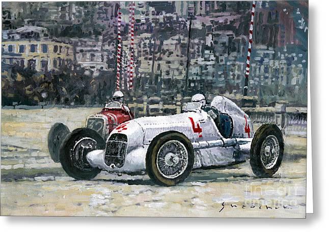 9 Greeting Cards - 1935 Monaco GP Mercedes-Benz W25 #4 L. Fagioli winner  Greeting Card by Yuriy Shevchuk