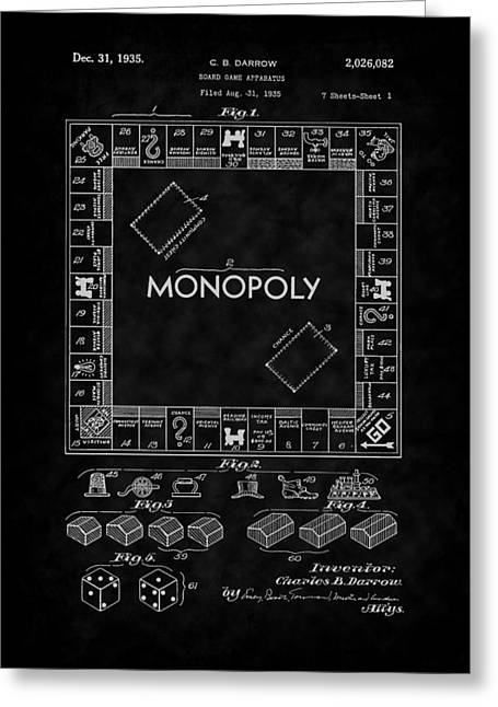 Monopoly Greeting Cards - 1935 Monopoly Board Game Patent-BK Greeting Card by Barry Jones