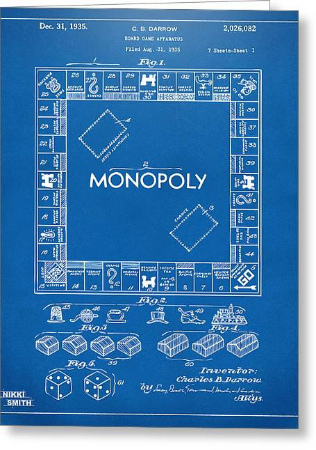 Monopoly Greeting Cards - 1935 Monopoly Game Board Patent Artwork - Blueprint Greeting Card by Nikki Marie Smith