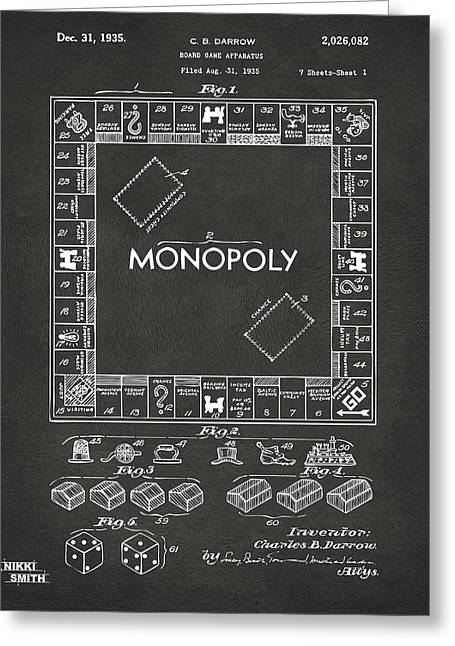 Best Sellers -  - Monopoly Greeting Cards - 1935 Monopoly Game Board Patent Artwork - Gray Greeting Card by Nikki Marie Smith