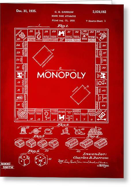 Monopoly Greeting Cards - 1935 Monopoly Game Board Patent Artwork - Red Greeting Card by Nikki Marie Smith