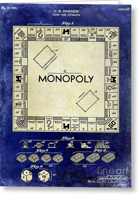 1935 Monopoly Patent Drawing 2 Tone Blue Greeting Card by Jon Neidert
