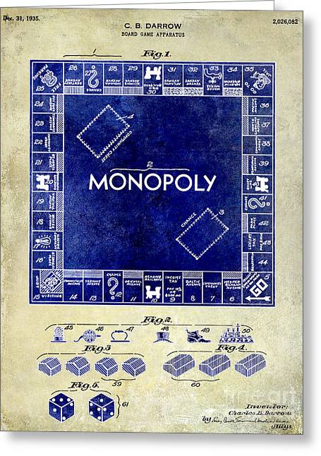 Monopoly Greeting Cards - 1935 Monopoly Patent Drawing 2 Tone  Greeting Card by Jon Neidert