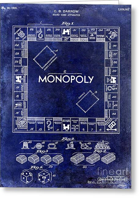 Monopoly Greeting Cards - 1935 Monopoly Patent Drawing Blue Greeting Card by Jon Neidert