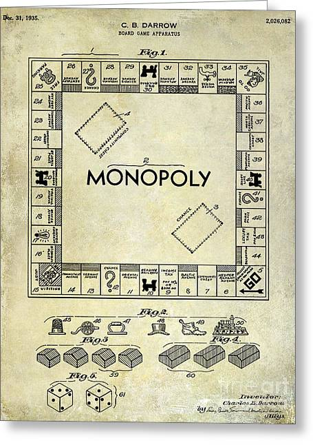 Best Sellers -  - Monopoly Greeting Cards - 1935 Monopoly Patent Drawing Greeting Card by Jon Neidert