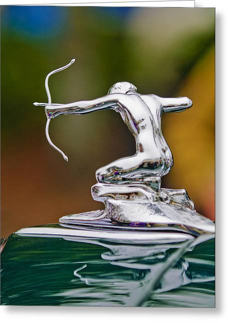 Vintage Hood Ornament Greeting Cards - 1935 Pierce-Arrow 845 Coupe Hood Ornament Greeting Card by Jill Reger