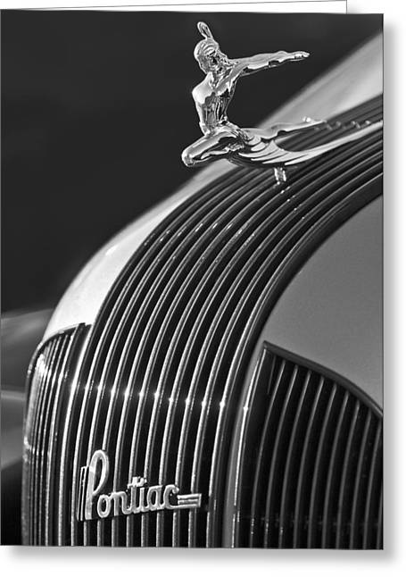Vintage Hood Ornament Greeting Cards - 1935 Pontiac Sedan Hood Ornament 3 Greeting Card by Jill Reger