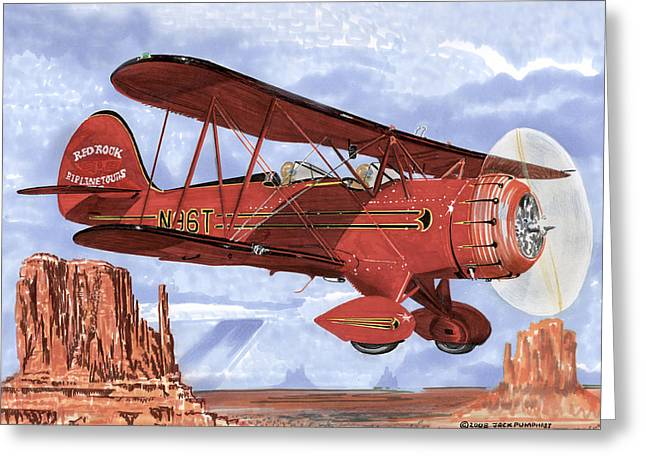 Waco Greeting Cards - 1935 Waco sight seeing Bi-Plane Greeting Card by Jack Pumphrey
