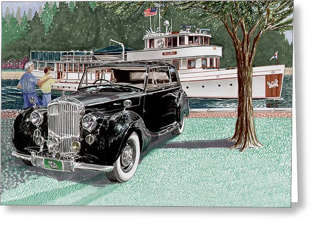 Seattle Framed Prints Greeting Cards - 1936 Bentley Waving to Malibu Greeting Card by Jack Pumphrey