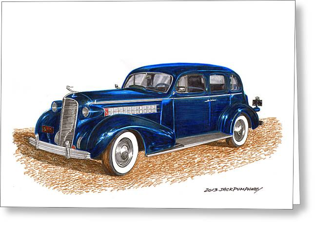 Headlight Drawings Greeting Cards - 1936 Cadillac Model 70 Fleetwood Sedan Greeting Card by Jack Pumphrey
