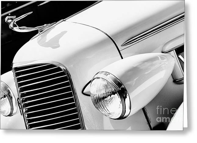 1930s Greeting Cards - 1936 Cadillac V8 Monochrome Greeting Card by Tim Gainey