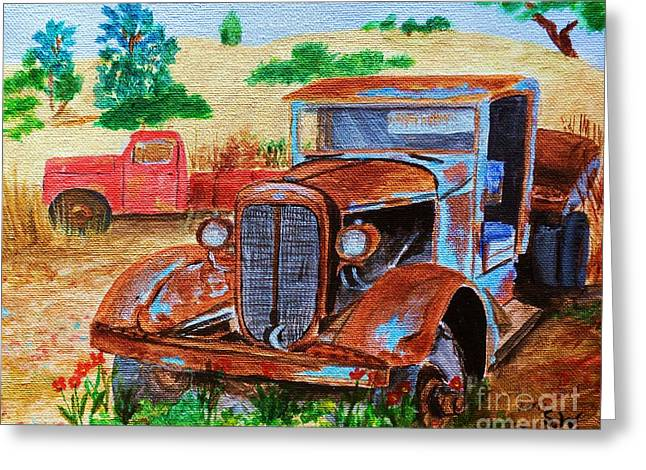 Classic Pickup Paintings Greeting Cards - 1936 Corbitt 4x4 Greeting Card by Sharon  Woods
