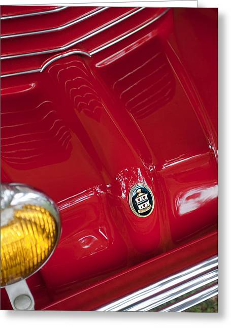 1936 Greeting Cards - 1936 Cord 810 Sportsman Grille Emblem Greeting Card by Jill Reger