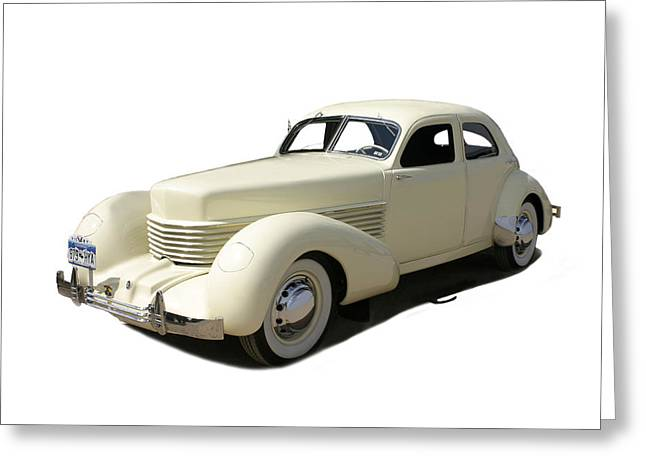 Take The Wheel Greeting Cards - 1936 Cord 810 Westchester Sedan Greeting Card by Jack Pumphrey