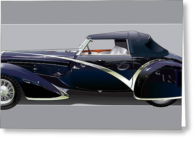 1938 Greeting Cards - 1936 Delahaye 135 Competition Greeting Card by Alain Jamar