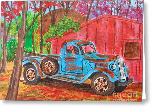 Classic Pickup Paintings Greeting Cards - 1936 Dodge Pickup Truck Greeting Card by Sharon  Woods