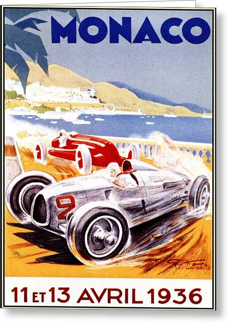 Bugatti Vintage Car Greeting Cards - 1936 F1 Monaco Grand Prix  Greeting Card by Nomad Art And  Design
