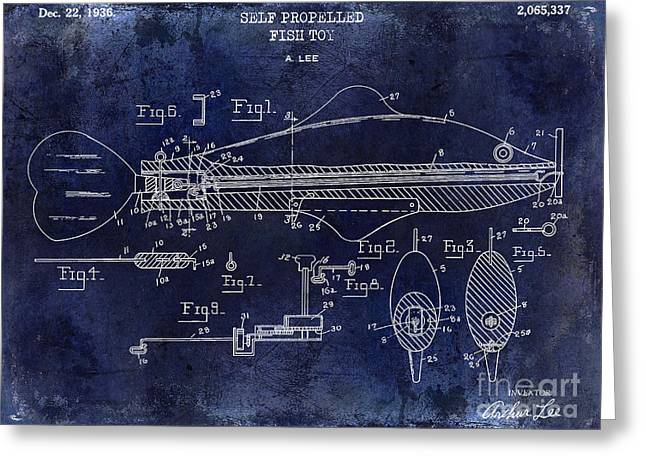 Large-mouth Bass Greeting Cards - 1936 Fish Toy Patent Drawing Blue Greeting Card by Jon Neidert