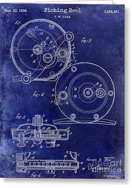 Fishing House Greeting Cards - 1936 Fishing Reel Patent Drawing Blue Greeting Card by Jon Neidert
