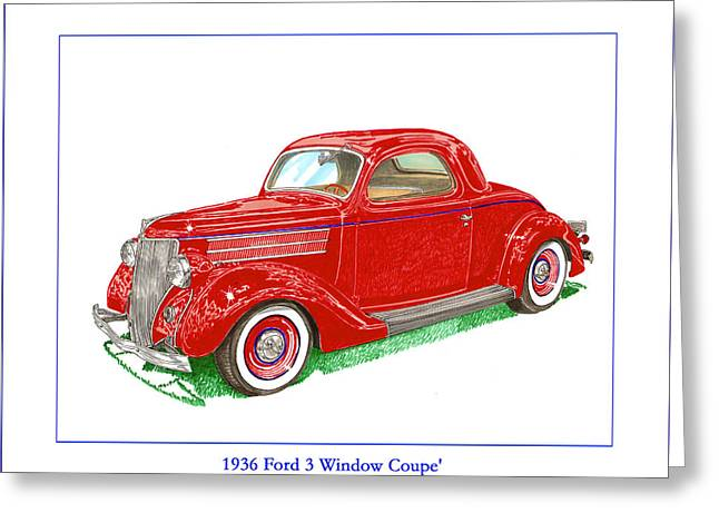 Car Part Paintings Greeting Cards - 1936 Ford 3 window coupe Restro Greeting Card by Jack Pumphrey