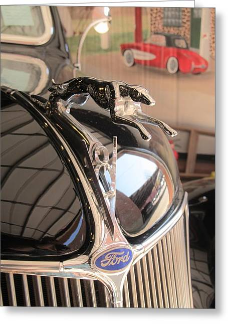 Greyhound Greeting Cards Greeting Cards - 1936 Ford Cabriolet Car Hood Ornament Greeting Card by Donna Wilson