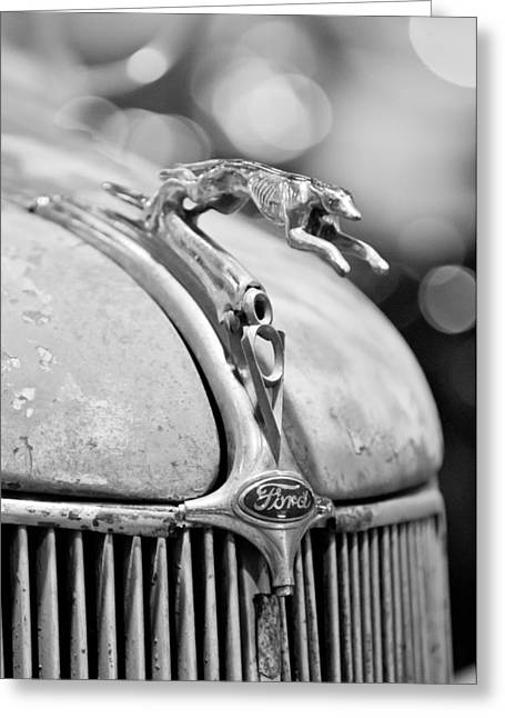 1936 Greeting Cards - 1936 Ford Cabriolet Hood Ornament - Emblem Greeting Card by Jill Reger