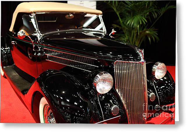 Domestic Cars Greeting Cards - 1936 Ford Deluxe Roadster - 5D19963 Greeting Card by Wingsdomain Art and Photography