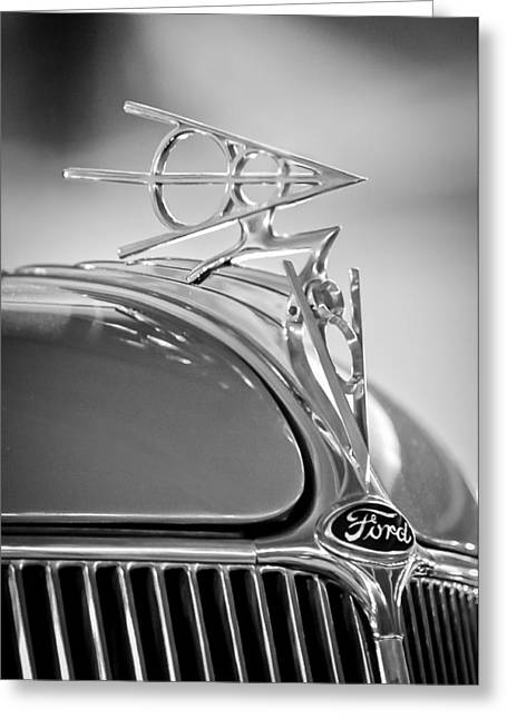 Mascot Photographs Greeting Cards - 1936 Ford Deluxe Roadster Hood Ornament 2 Greeting Card by Jill Reger