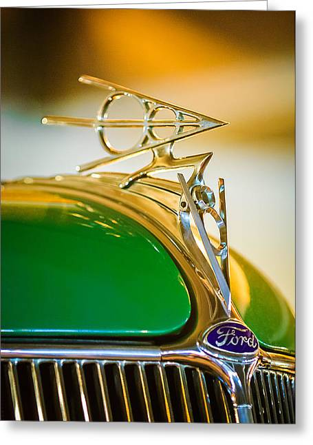 Vintage Hood Ornament Greeting Cards - 1936 Ford Deluxe Roadster Hood Ornament Greeting Card by Jill Reger