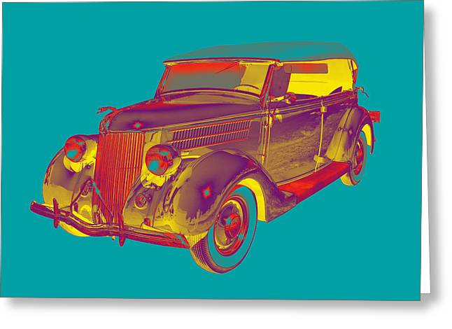 Retro Digital Art Greeting Cards - 1936 Ford Phaeton Convertible Pop Art  Greeting Card by Keith Webber Jr