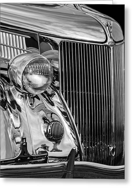 Stainless Steel Photographs Greeting Cards - 1936 Ford Stainless Steel Grille -0376bw Greeting Card by Jill Reger