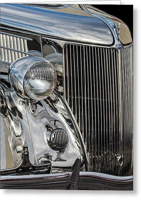 Stainless Steel Greeting Cards - 1936 Ford Stainless Steel Grille Greeting Card by Jill Reger