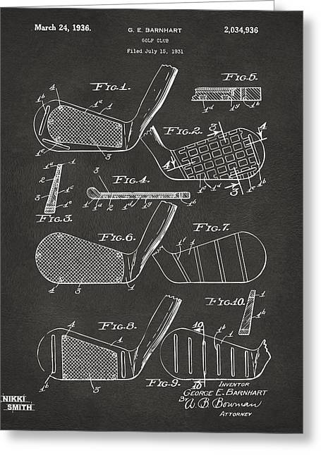 Iron Greeting Cards - 1936 Golf Club Patent Artwork - Gray Greeting Card by Nikki Marie Smith