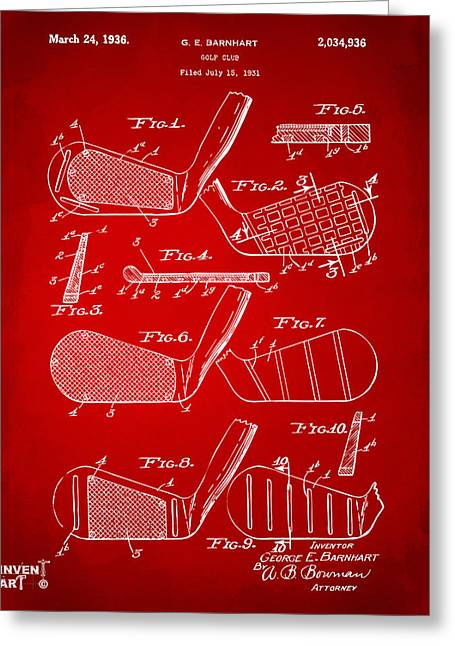 1930Õs Greeting Cards - 1936 Golf Club Patent Artwork Red Greeting Card by Nikki Marie Smith