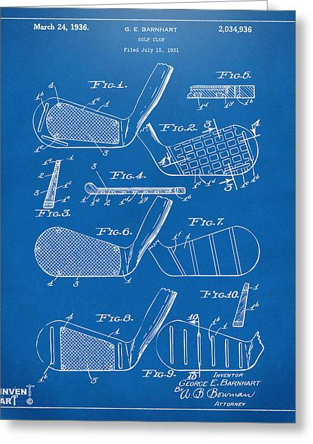 Golf Digital Art Greeting Cards - 1936 Golf Club Patent Blueprint Greeting Card by Nikki Marie Smith