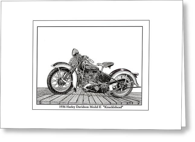 Pen And Ink Framed Prints Greeting Cards - 1936 Harley Knucklehead Greeting Card by Jack Pumphrey