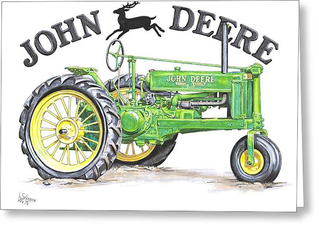 Farmer Drawings Greeting Cards - 1936 John Deere Greeting Card by Shannon Watts